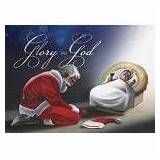 Card-Boxed-Glory To God/Santa At Manger w/Matching Envelopes (Pack Of 15)