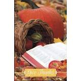 Bulletin-Give Thanks: Cornucopia w/Open Bible-Legal Size (Pack Of 100)
