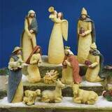 Nativity Set-Folk Art-11 Piece Set (2 to 9.5 Inches Tall)